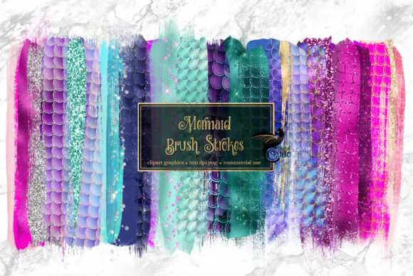 Mermaid Brush Strokes Clipart Graphic Objects By Digital Curio - Image 1