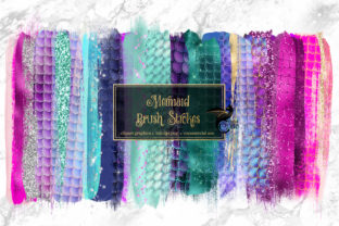 Print on Demand: Mermaid Brush Strokes Clipart Graphic Objects By Digital Curio
