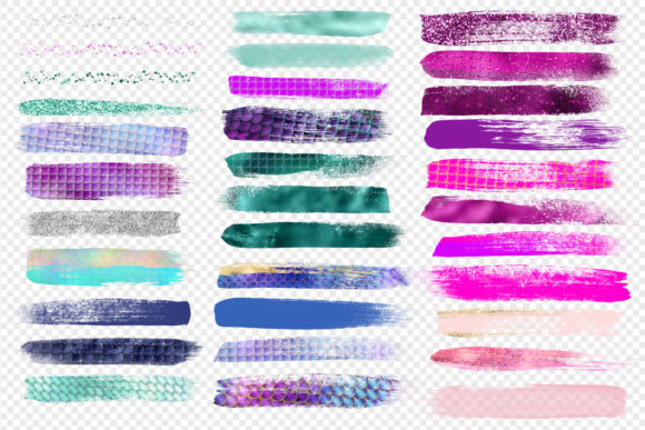 Mermaid Brush Strokes Clipart Graphic Objects By Digital Curio - Image 3