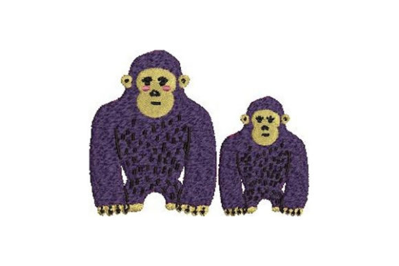 Mom and Baby Gorillas Wild Animals Embroidery Design By Embroidery Designs