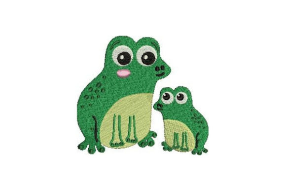 Mom and Baby Frog Reptiles Embroidery Design By Embroidery Designs - Image 1
