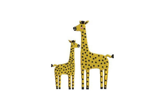 Mom and Baby Giraffes Wild Animals Embroidery Design By Embroidery Designs