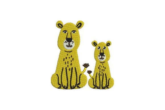 Mom and Baby Lions Wild Animals Embroidery Design By Embroidery Designs