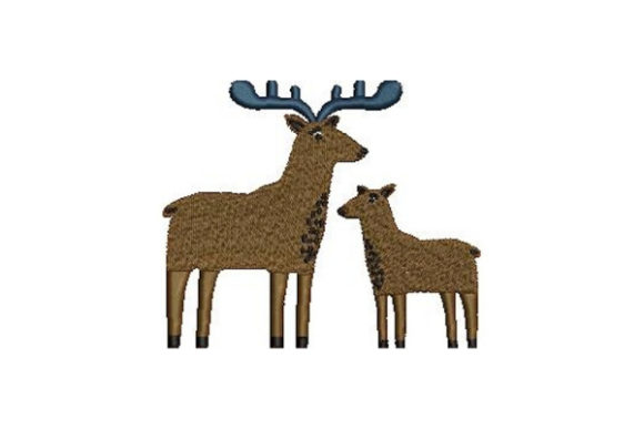 Mom and Baby Mooses Wild Animals Embroidery Design By Embroidery Designs - Image 1