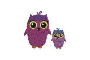 Mom and Baby Owls Birds Embroidery Design By Embroidery Designs