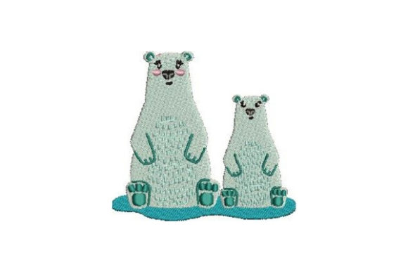 Mom and Baby Polar Bears Wild Animals Embroidery Design By Embroidery Designs - Image 1