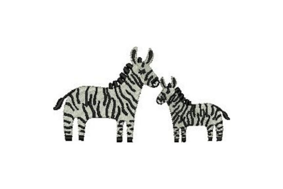 Mom and Baby Zebras Wild Animals Embroidery Design By Embroidery Designs