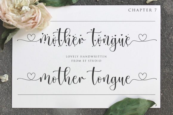 Print on Demand: Mother Tongue Script & Handwritten Font By Ef Studio