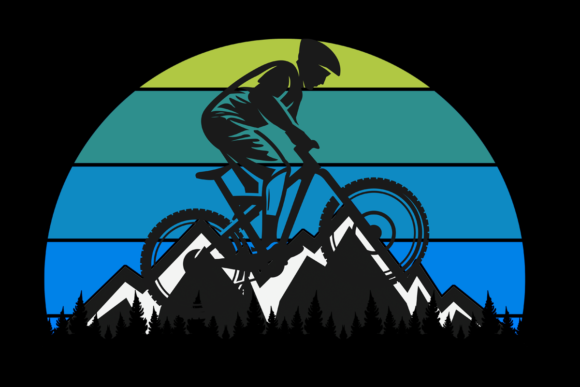 Print on Demand: Mountain Biking Retro Vintage Sunset Graphic Illustrations By SunandMoon