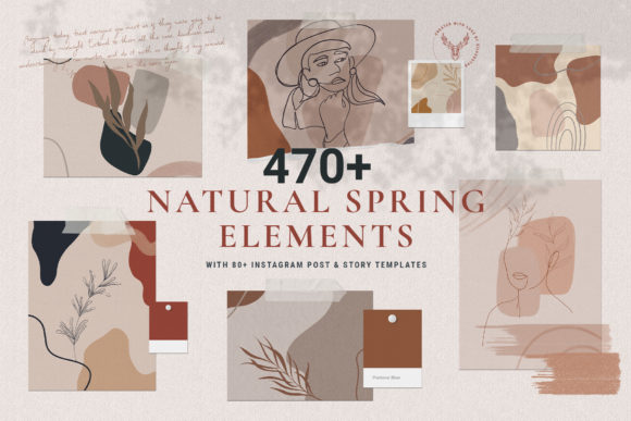 Print on Demand: Natural Spring Graphics & Insta Elements Graphic Graphic Templates By SilverStag