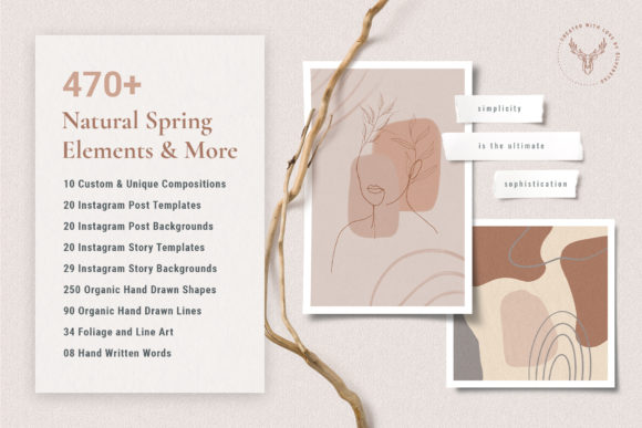 Download Free Natural Spring Graphics Insta Elements Graphic By Silverstag for Cricut Explore, Silhouette and other cutting machines.