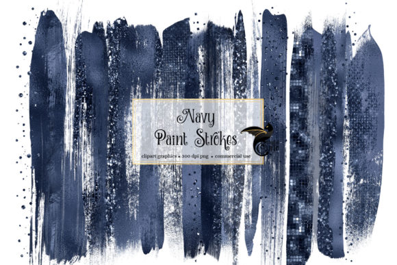 Navy Blue Brush Strokes Clipart Grafik Illustrationen von Digital Curio