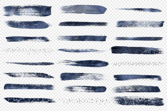 Navy Blue Brush Strokes Clipart Graphic Illustrations By Digital Curio - Image 3