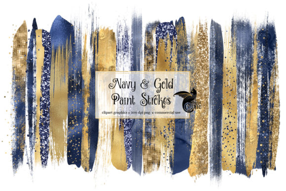 Print on Demand: Navy and Gold Brush Strokes Clipart Graphic Illustrations By Digital Curio