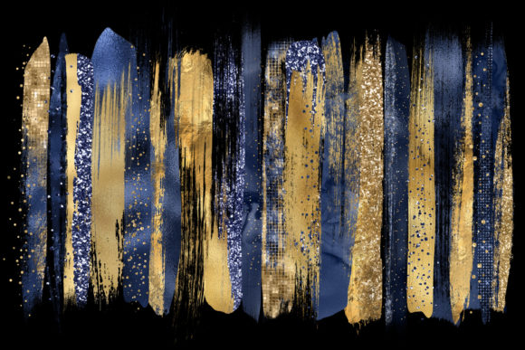 Print on Demand: Navy and Gold Brush Strokes Clipart Graphic Illustrations By Digital Curio - Image 2