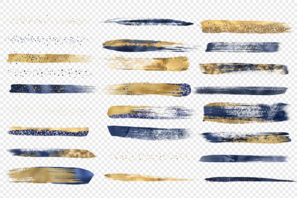 Print on Demand: Navy and Gold Brush Strokes Clipart Graphic Illustrations By Digital Curio - Image 3
