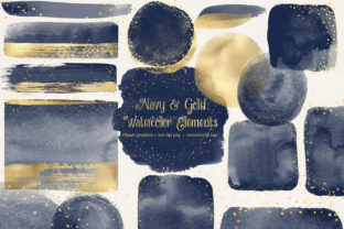 Print on Demand: Navy and Gold Watercolor Elements Graphic Illustrations By Digital Curio
