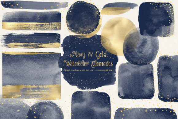 Navy and Gold Watercolor Elements Graphic Illustrations By Digital Curio