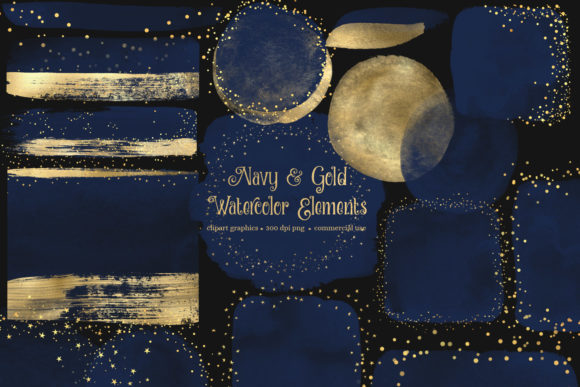 Navy and Gold Watercolor Elements Graphic Illustrations By Digital Curio - Image 2