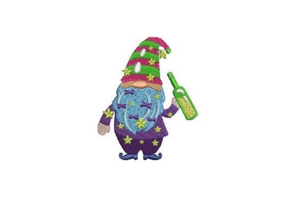 New Year's Gnome Anniversary Embroidery Design By Embroidery Designs
