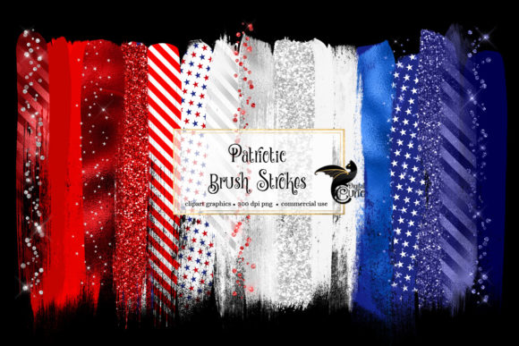 Patriotic Brush Strokes Clipart Grafik Illustrationen von Digital Curio