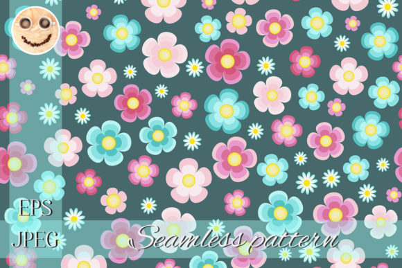 Print on Demand: Periwinkle Pink Turquoise Flowers Graphic Patterns By TasiPas