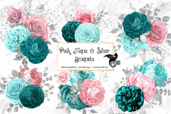 Pink Aqua and Silver Floral Bouquets Graphic Illustrations By Digital Curio