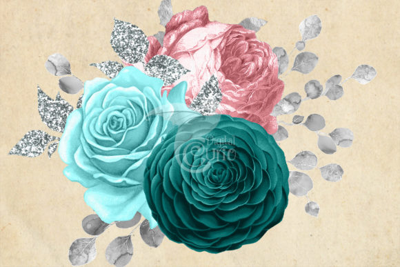 Pink Aqua and Silver Floral Bouquets Graphic Illustrations By Digital Curio - Image 3