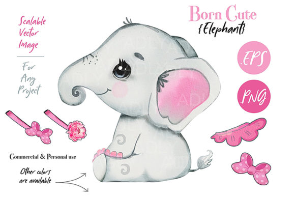 Print on Demand: Pink Elephant Clip Art Baby Shower Graphic Illustrations By adlydigital