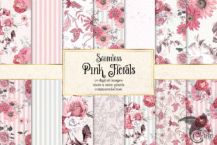 Print on Demand: Pink Floral Digital Paper Graphic Patterns By Digital Curio