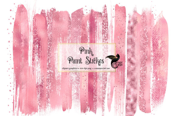 Pink Paint Strokes Clipart Graphic Illustrations By Digital Curio - Image 1
