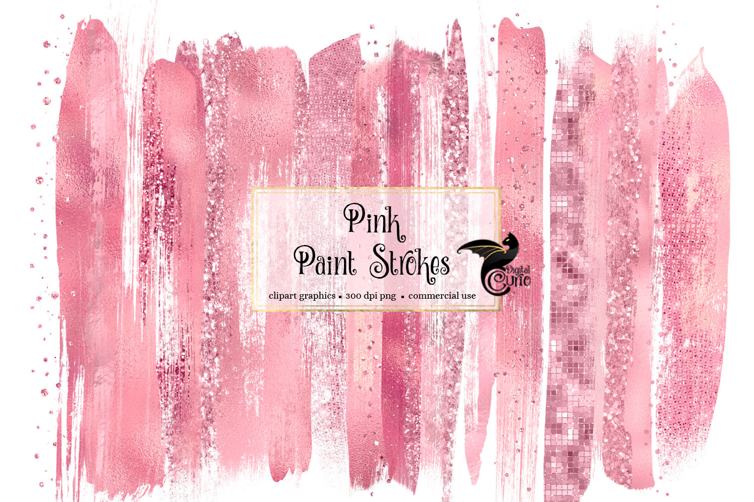 Download Free Pink Paint Strokes Clipart Graphic By Digital Curio Creative for Cricut Explore, Silhouette and other cutting machines.