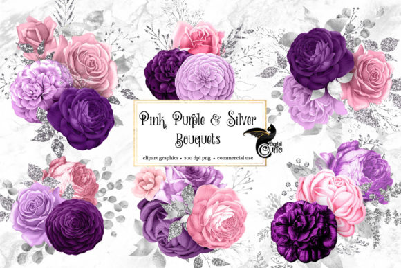Pink Purple and Silver Floral Bouquets Graphic Illustrations By Digital Curio