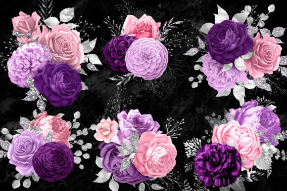 Pink Purple and Silver Floral Bouquets Graphic Illustrations By Digital Curio - Image 2