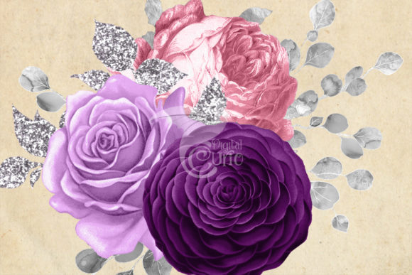 Pink Purple and Silver Floral Bouquets Graphic Illustrations By Digital Curio - Image 3