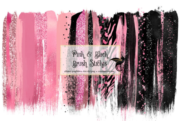 Pink and Black Brush Strokes Clipart Graphic Illustrations By Digital Curio - Image 1