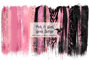 Print on Demand: Pink and Black Brush Strokes Clipart Graphic Illustrations By Digital Curio