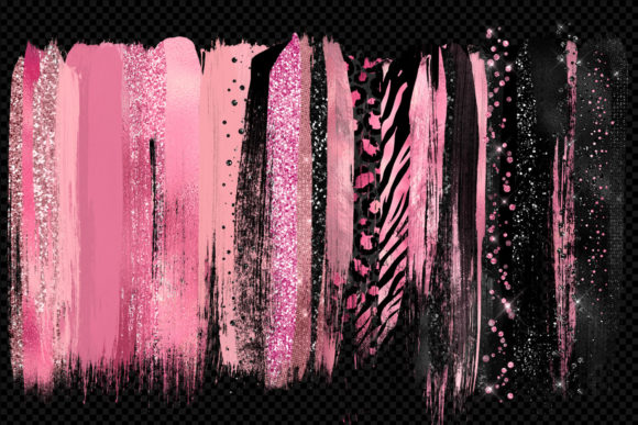 Pink and Black Brush Strokes Clipart Graphic Illustrations By Digital Curio - Image 2