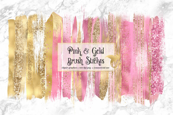 Pink and Gold Brush Strokes Clipart Graphic Illustrations By Digital Curio - Image 1