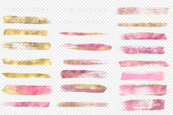 Pink and Gold Brush Strokes Clipart Graphic Illustrations By Digital Curio - Image 4