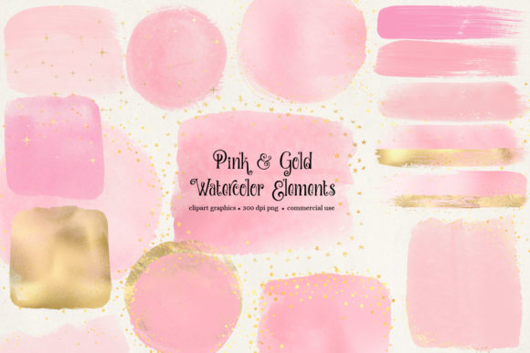 Print on Demand: Pink and Gold Watercolor Elements Clipar Graphic Illustrations By Digital Curio