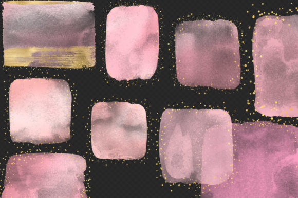 Pink and Gold Watercolor Elements Clipar Graphic Illustrations By Digital Curio - Image 3