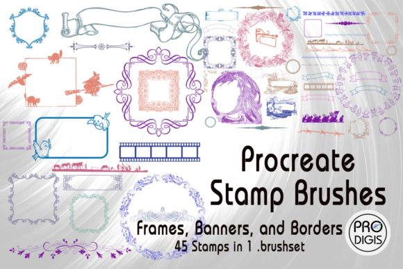 Print on Demand: Procreate Stamp Brushes Set Borders Graphic Brushes By ProDigis