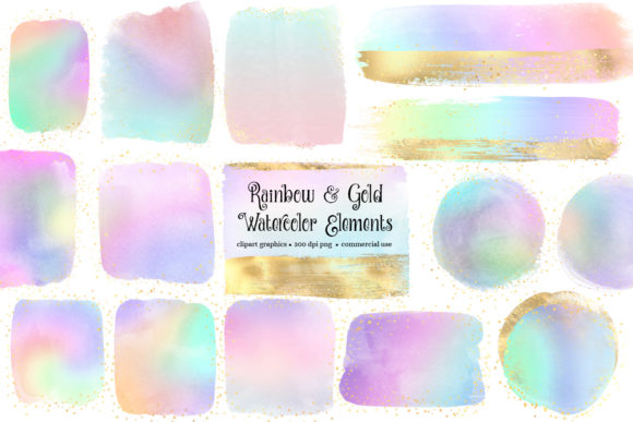 Rainbow and Gold Watercolor Elements Graphic Illustrations By Digital Curio
