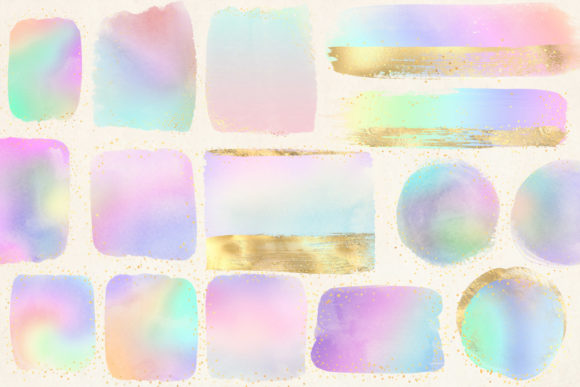 Rainbow and Gold Watercolor Elements Graphic Illustrations By Digital Curio - Image 2