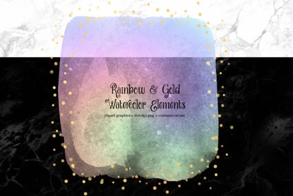 Rainbow and Gold Watercolor Elements Graphic Illustrations By Digital Curio - Image 5