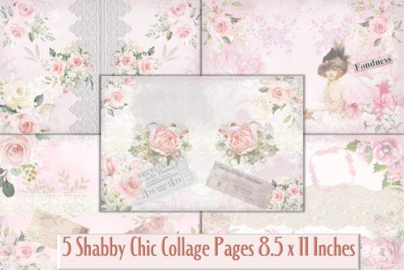 Print on Demand: Shabby Chic Printable Backgrounds Graphic Backgrounds By The Paper Princess