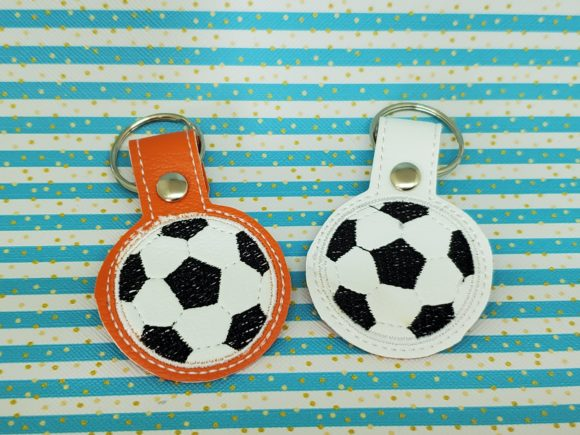Soccer Ball Key Fob Sports Embroidery Design By Rachel Macdaid - Image 1