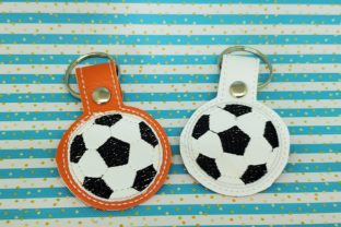 Soccer Ball Key Fob Sports Embroidery Design By Rachel Macdaid
