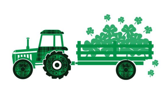 Print on Demand: St Patrick Day Tractor Shamrock Clipart Graphic Logos By SunandMoon
